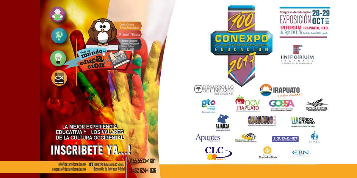 Congreso Internacional de Educación con Exposición CONEXPO EDUCACIÓN  La más importante y principal cita anual del mundo de la educación  y  formación de tal magnitud celebrada en México, se lleva a cabo en el INFORUM  Irapuato del 26 al 29 de octubre del 2017, en un horario de 9-19 hrs.