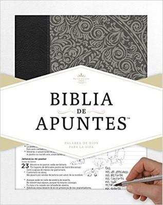 Biblia De Apuntes Gris Floral (Piel genuina y tela impresa)