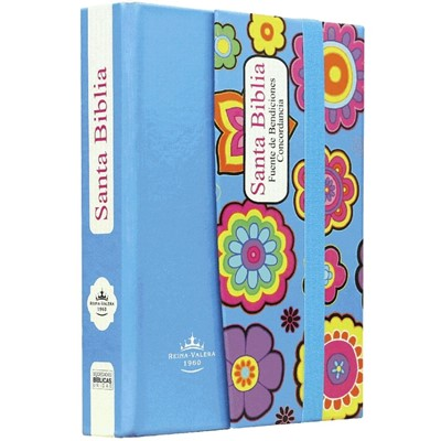Biblia RVR043 TD Azul Flores