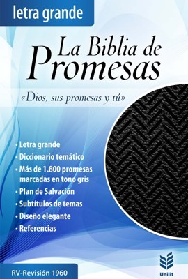 Biblia De Promesas Letra Grande Indice Piel Especial Negro (Tapa simil piel negro con cierre)