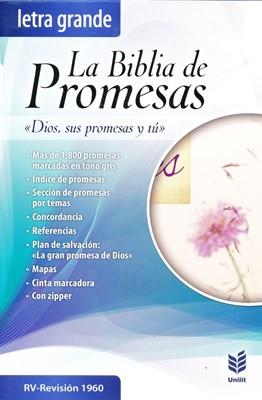 Biblia RVR1960 de promesas letra grande con cierre e índice (Tapa piel especial floral con cierre) [Bíblia]