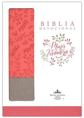 Biblia devocional Mujer Verdadera RVR60 - Duo-tono Coral (Imitación Piel)
