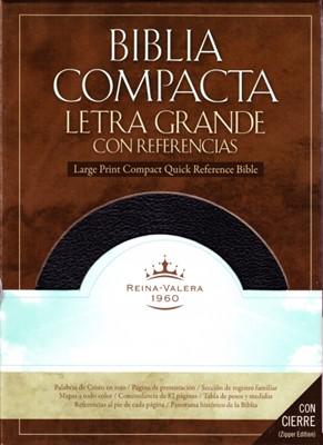 Biblia Compacta Reina Valera Letra Grande con Referencias (Borgoña Piel Fabricada con Cierre) [Biblia]