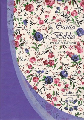 Biblia Reina Valera Letra Grande (Vinil violeta/flores) [Biblia]