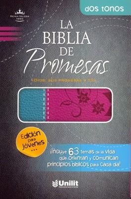 Biblia De Promesas Reina Valera Edición para Jóvenes (Piel Duo Tono Rosa Turquesa) [Biblia]