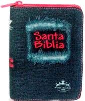 Biblia RVR Jean con Cierre Fucsia