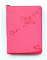 Biblia RVR085cZLGi Rosa Canto Plateado