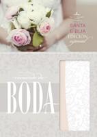Biblia Compacta Recuerdo Boda Imitación Piel Filigrana Blanca Palo Rosa