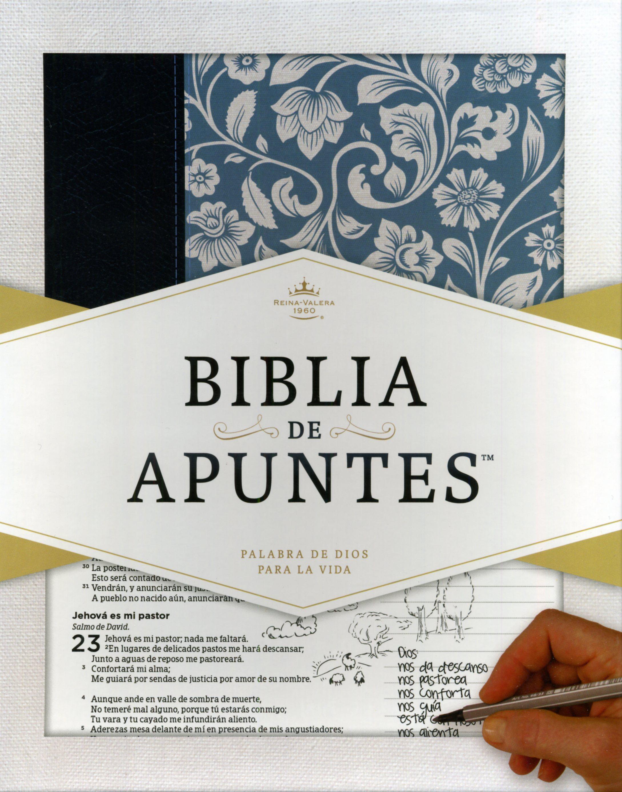 Biblia De Apuntes Azul Floral