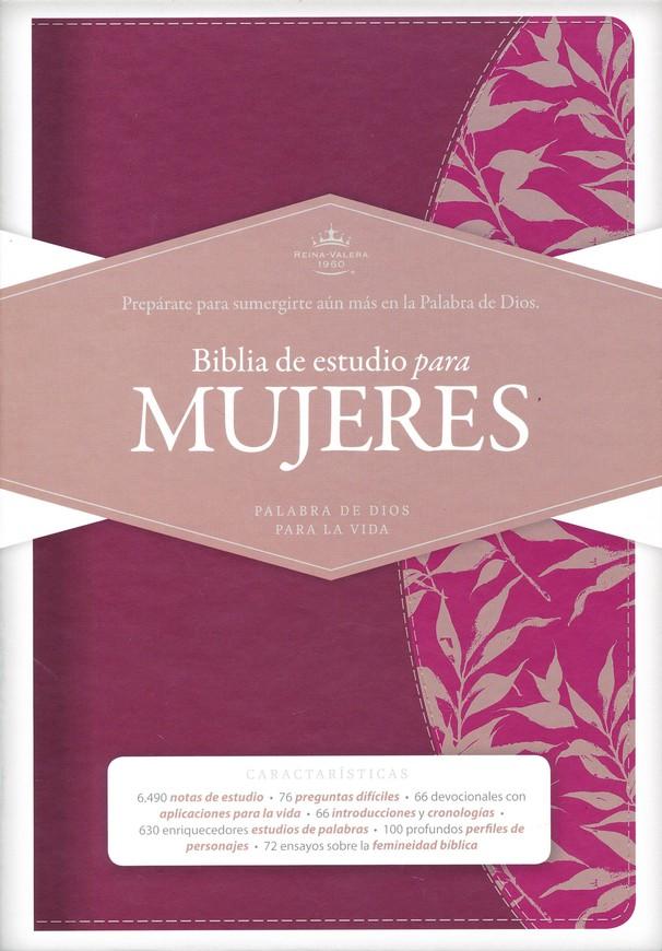Biblia RVR60 Estudio Mujeres Vino Piel