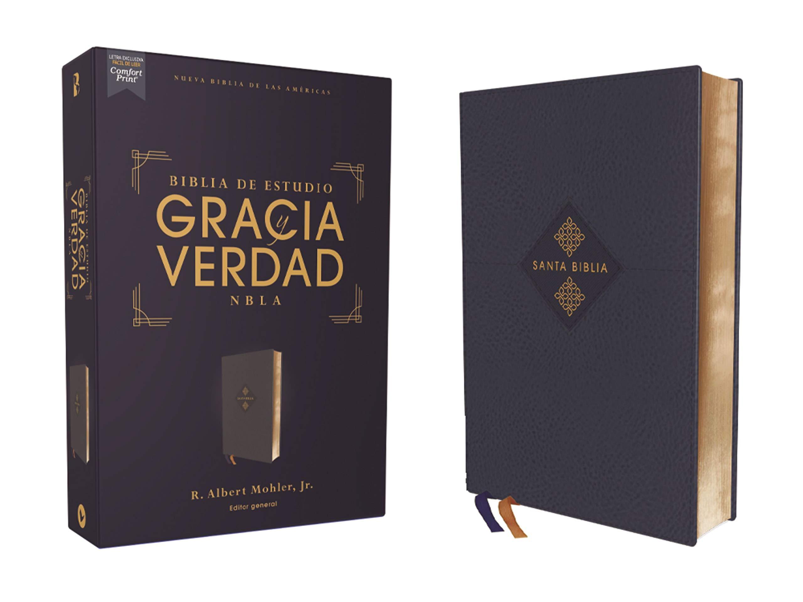 Biblia NBLA Estudio Gracia Verdad Leathersoft Azul Marino